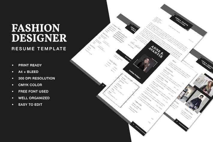 Thumbnail for Fashion Designer Resume CV Template
