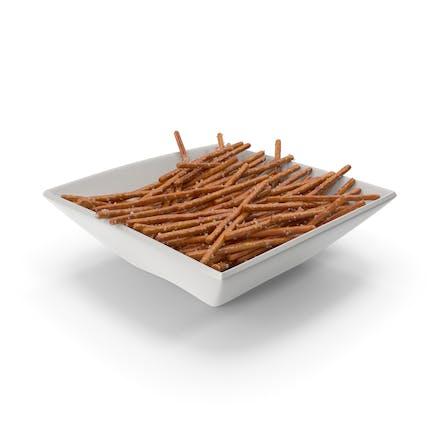 Cuenco cuadrado con mini palitos de pretzel salados