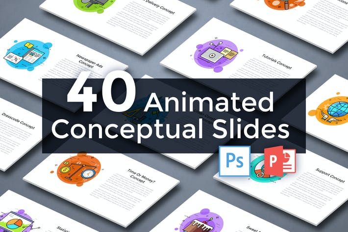 Thumbnail for 40 Animated Conceptual Slides for Powerpoint p.2