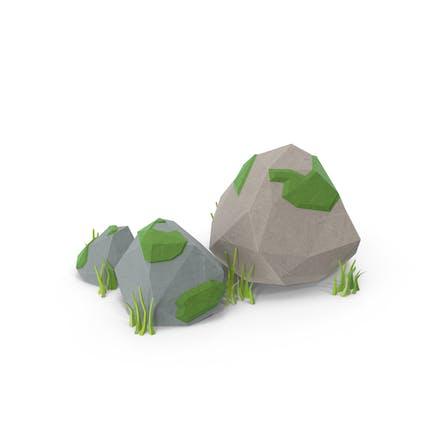 Low Poly Felsen mit Gras