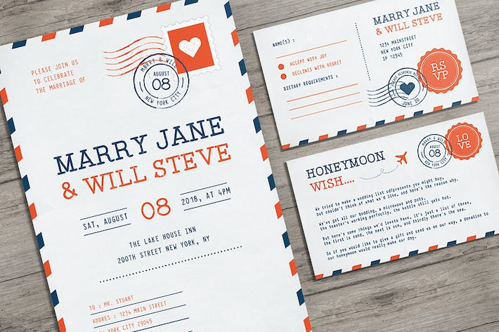 Cover Image For Airmail Wedding Invitation