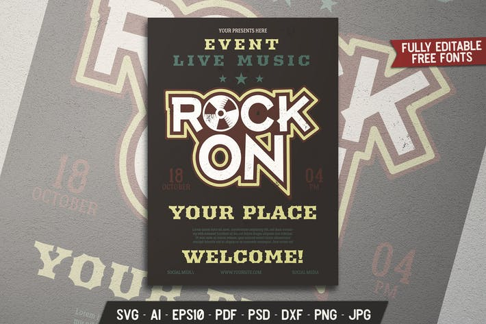 Thumbnail for Rock Music Party Flyer