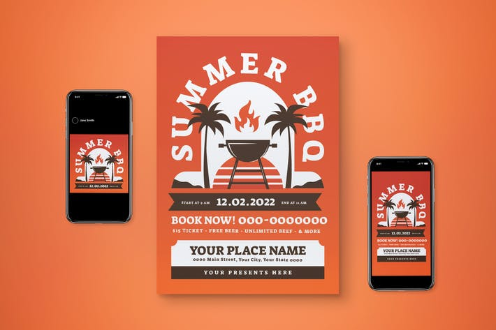 Summer BBQ Flyer Set