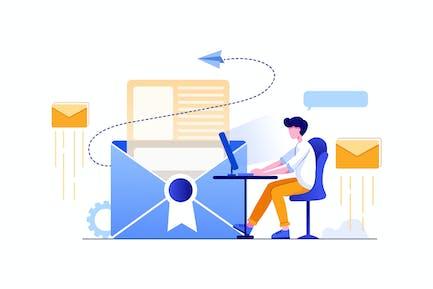 Der Vermarkter vor dem Bildschirm sendet E-Mail