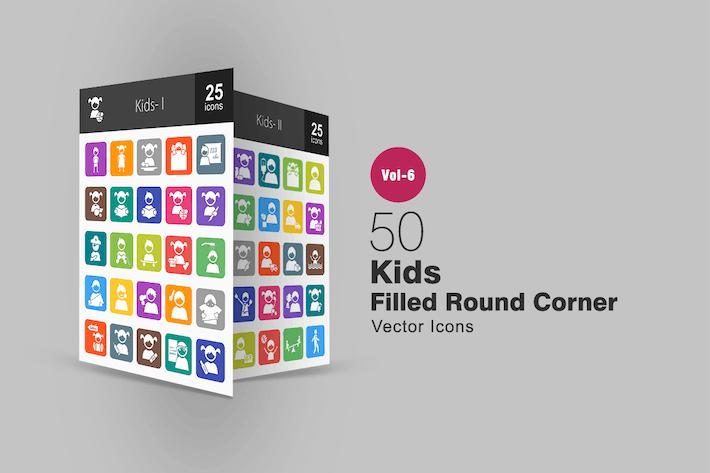 Thumbnail for 50 Kids Filled Round Corner Icons