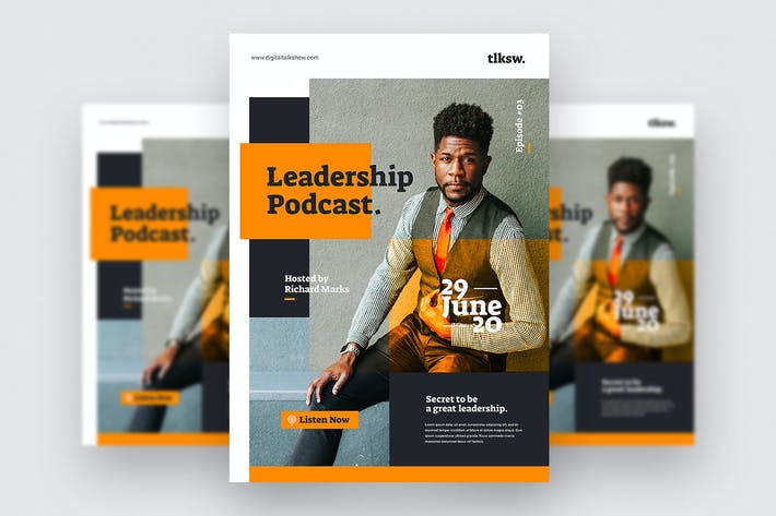 Thumbnail for Podcast Leadership - Flyer Template