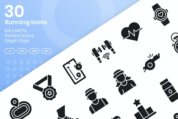 Thumbnail for 30 Running Icons Set - Glyph
