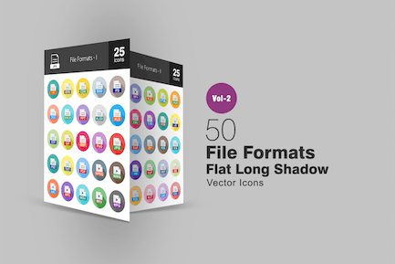 50 File Formats Flat Long Shadow Icons