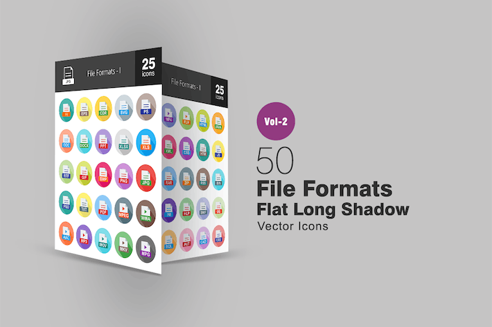 Thumbnail for 50 File Formats Flat Long Shadow Icons