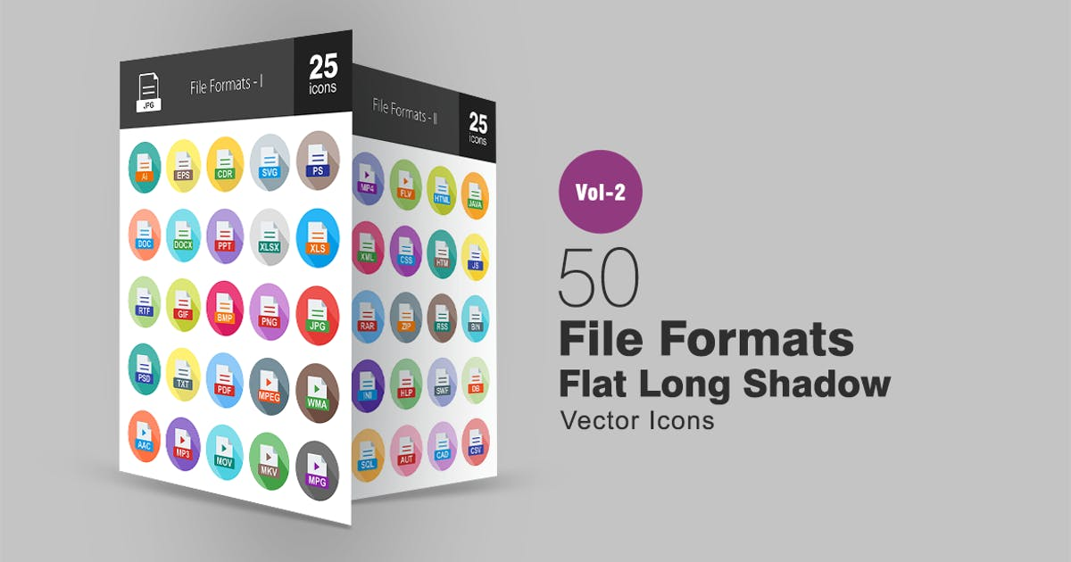 Download 50 File Formats Flat Long Shadow Icons by IconBunny