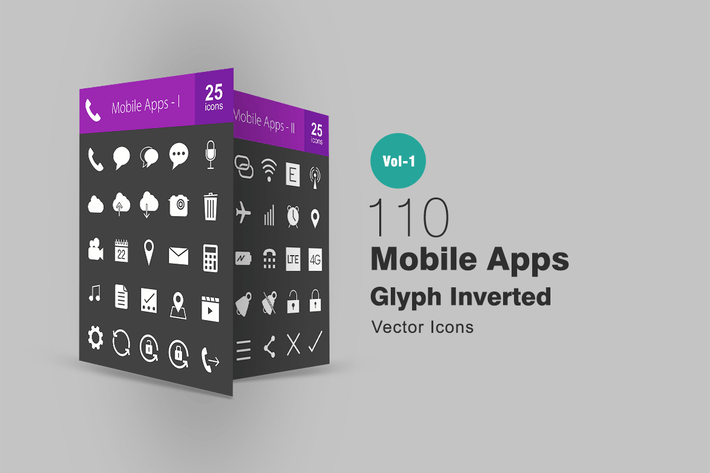 Thumbnail for 110 Mobile Apps Glyph Inverted Icons
