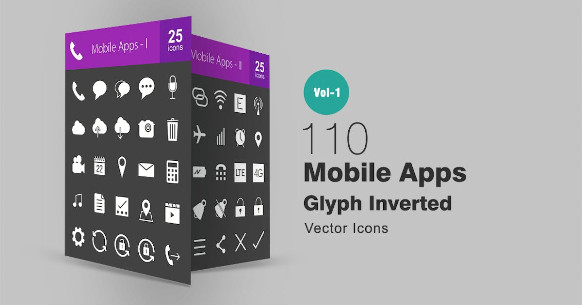 110 Mobile Apps Glyph Inverted Icons by IconBunny