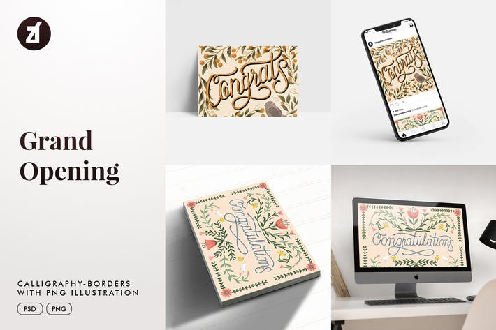 Grand open calligraphy with hand-draw illustration