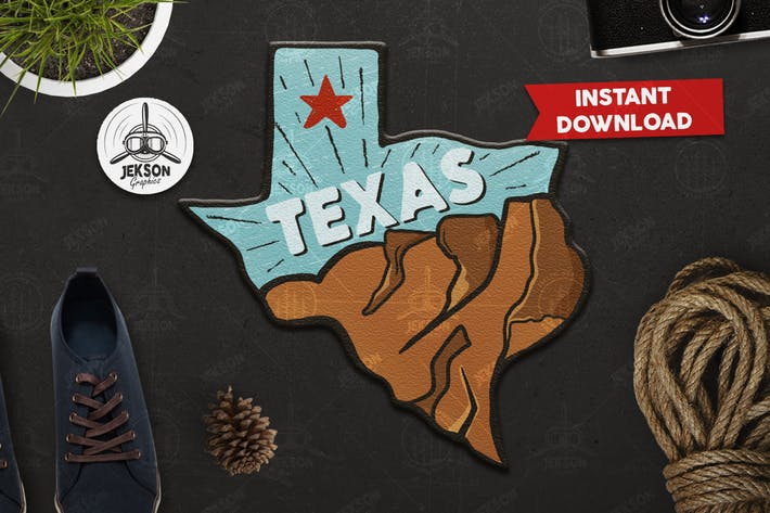 Thumbnail for Texas Retro Adventure Badge / Vintage Travel Logo