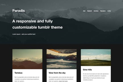 Paradis - Un Tema de cuadrícula minimalista