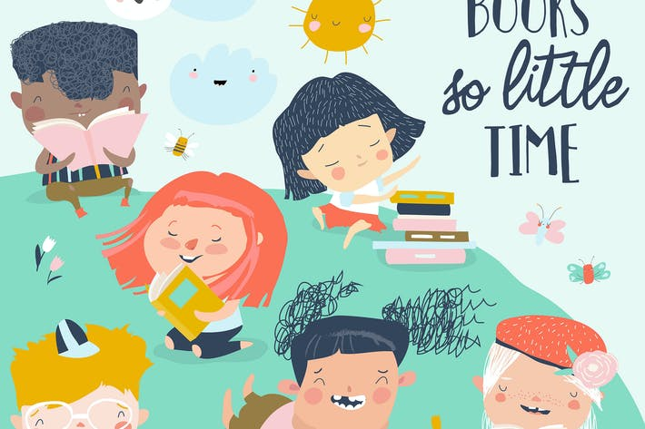 Thumbnail for Happy kids reading books on green meadow. Vector