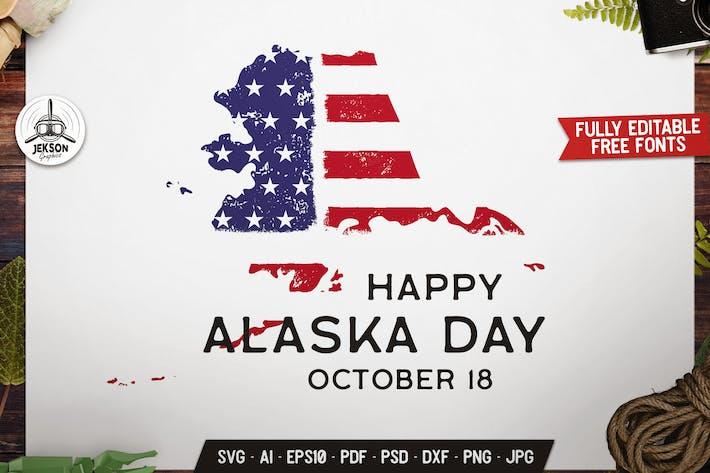 Thumbnail for Alaska USA State Badge, Vector US Retro Graphics