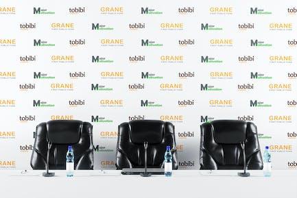 Press Conference Backdrop Banner Mockup
