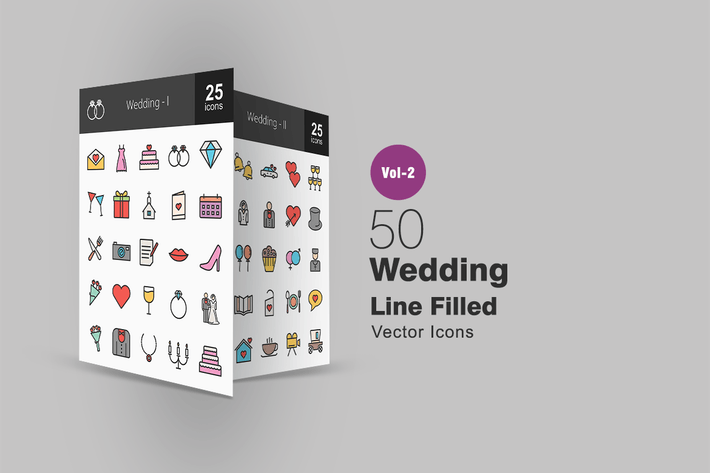 Thumbnail for 50 Wedding Line Filled Icons