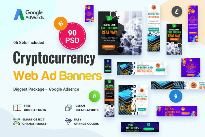 Thumbnail for Cryptocurrency Banners Ad - 90 PSD