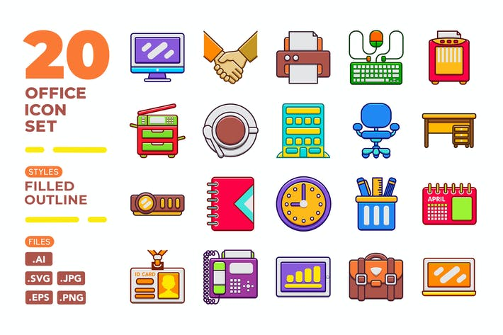 Thumbnail for Office Icon Set (Filled Outline)