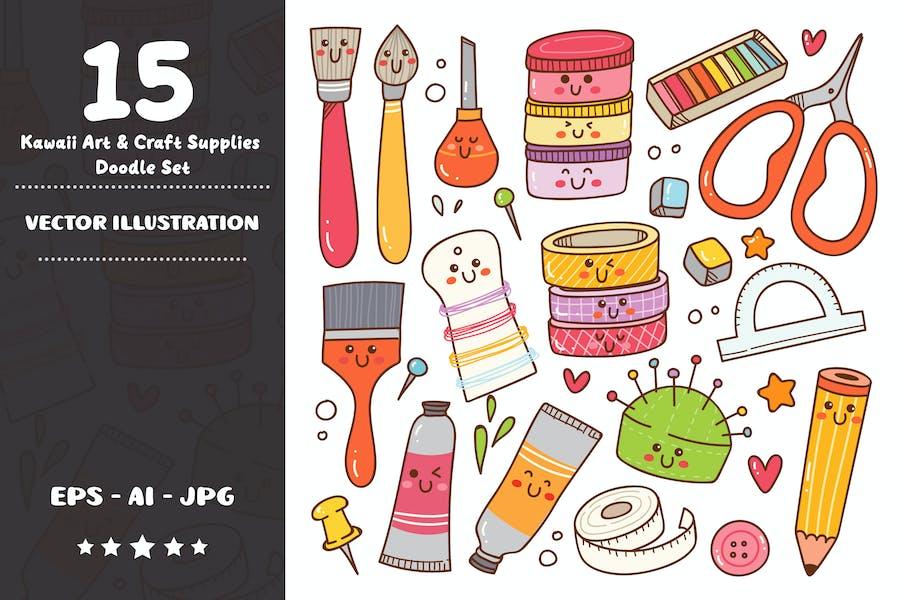 Kawaii Art and Craft Supplies Doodle Set