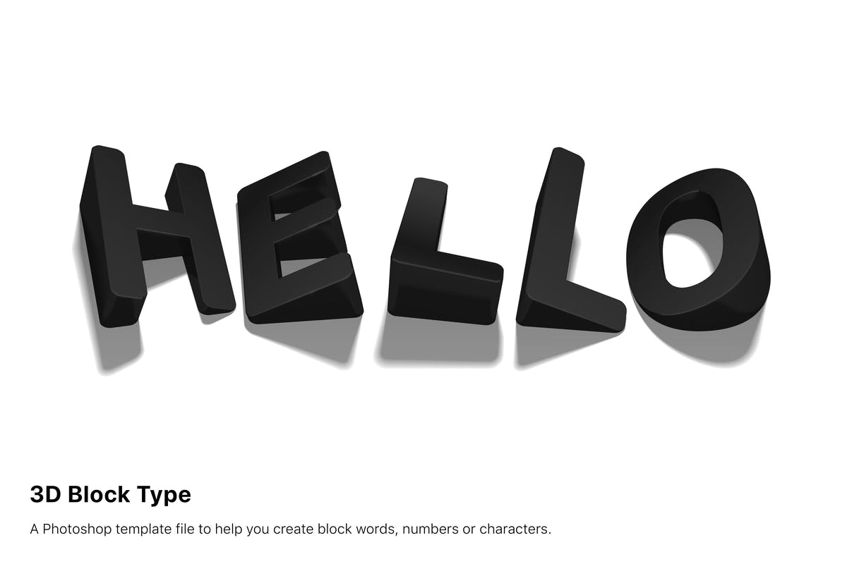 3D Block Typography 135 psd by designfetch on Envato Elements