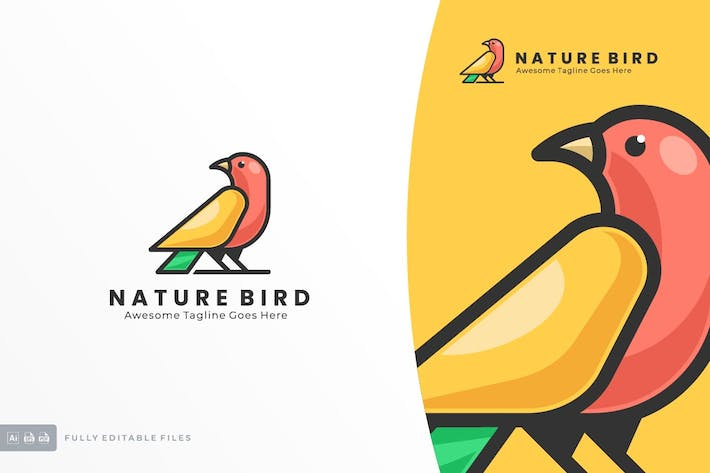 Thumbnail for Simple Modern Bird Color Logo template