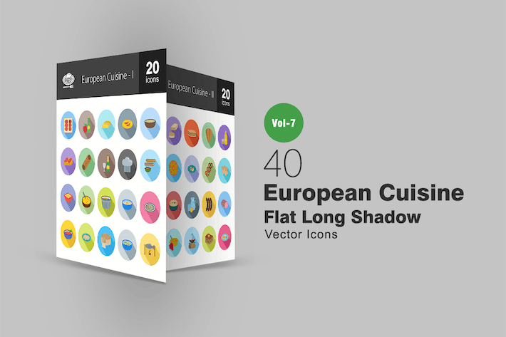 Thumbnail for 40 European Cuisine Flat Shadowed Icons