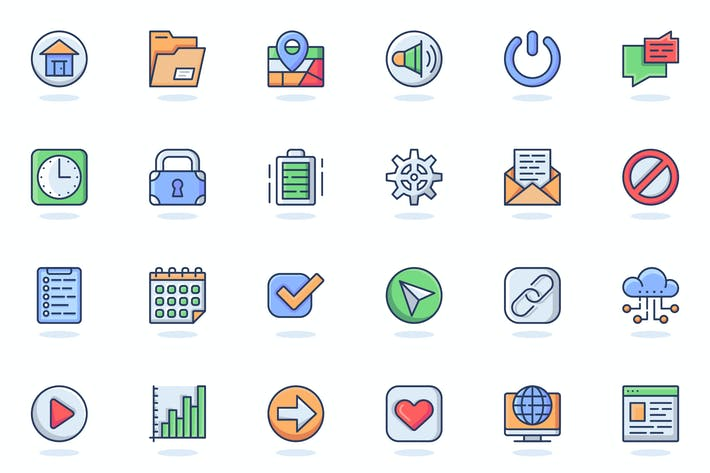 User Interface Flat Line Web Icons Set