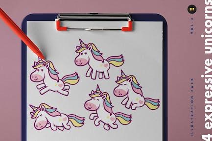 4 Expressive Unicorn Illustrations