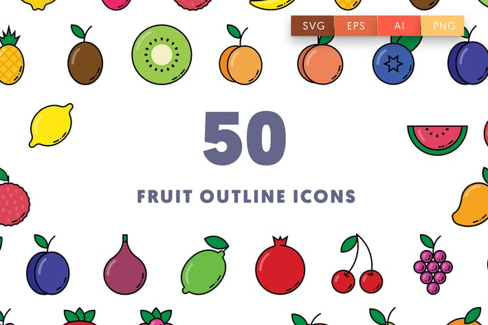 50 Obst Umriss Icons