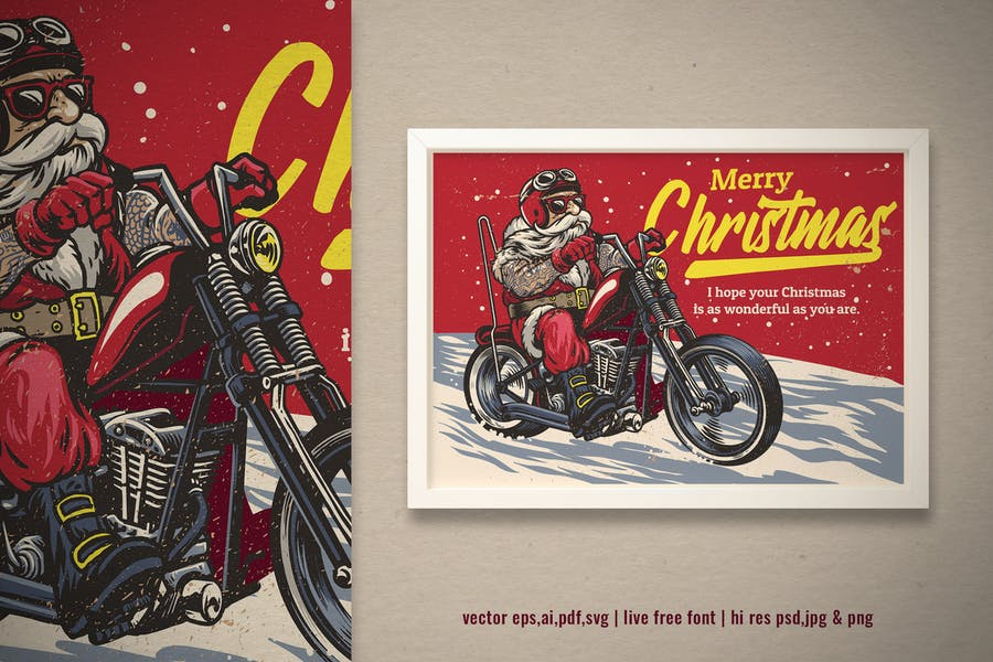 vintage greeting card santa claus ride motorcycle