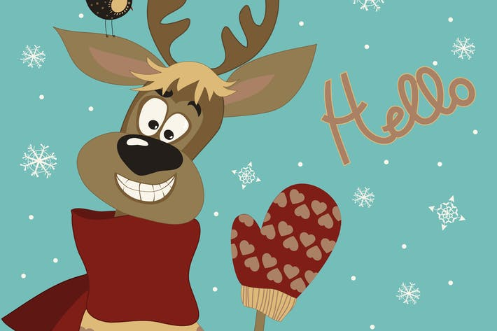 Thumbnail for Reindeer says hello at vector greeting card