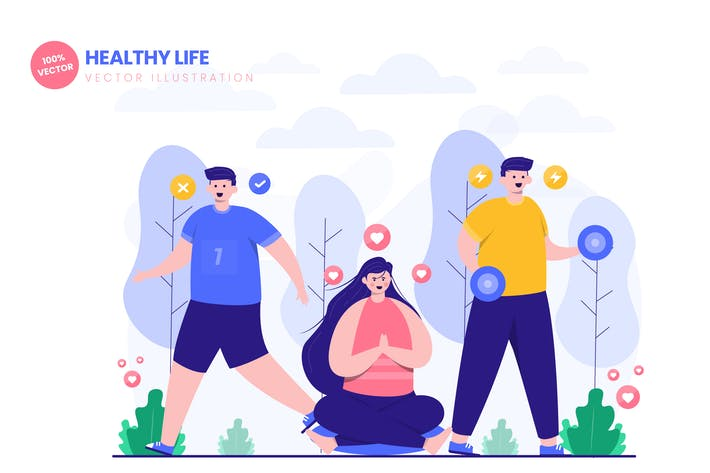 Thumbnail for Healthy Life Flat Vector Illustration