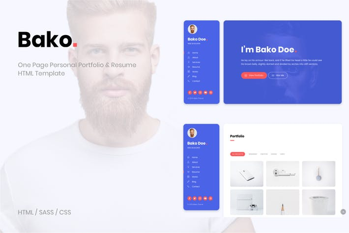 Thumbnail for Bako - Personal Portfolio & Resume HTML Template