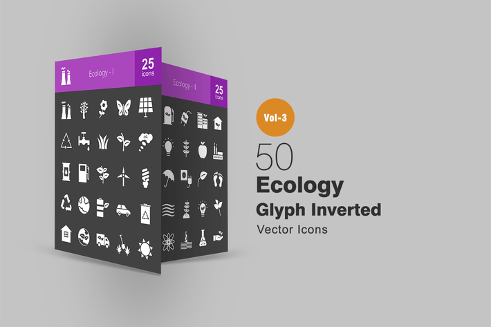 Thumbnail for 50 Ecology Glyph Inverted Icons