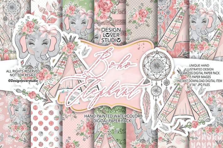 Thumbnail for Boho Elephant Cute digital paper pack
