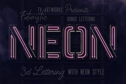Futuristische Neon 3D Schriftzug Bonus