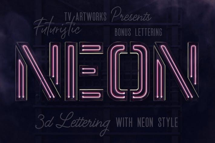 Thumbnail for Futuristic Neon 3D Lettering Bonus