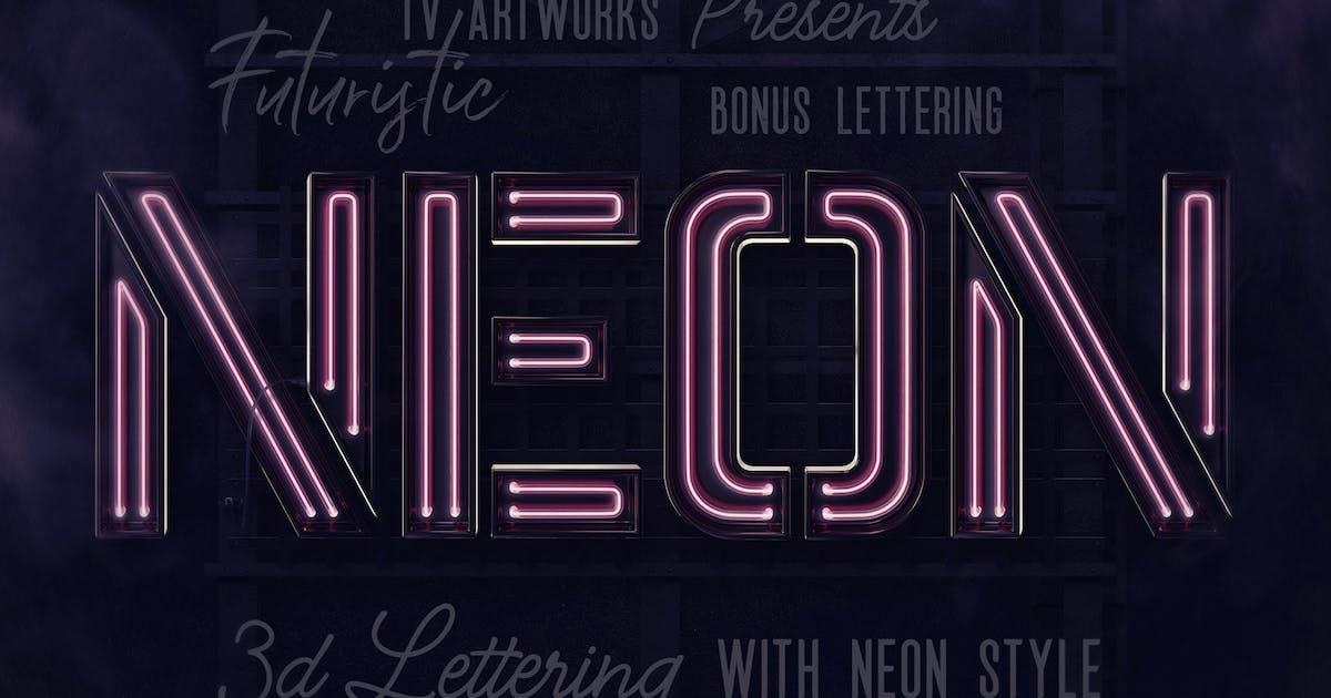 Download Futuristic Neon 3D Lettering Bonus by cruzine