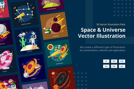 Space and Universe Vector Illustration