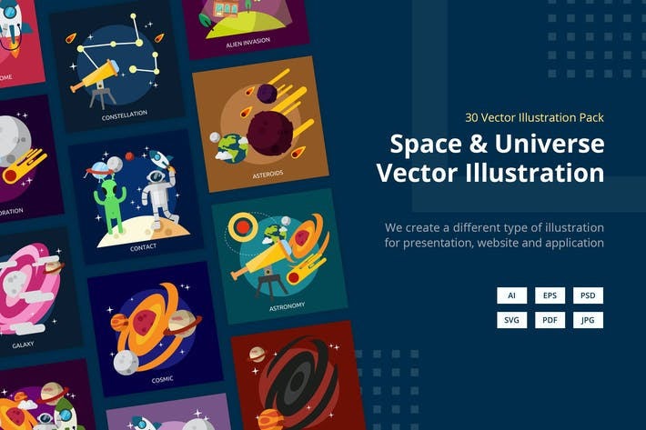 Thumbnail for Space and Universe Vector Illustration