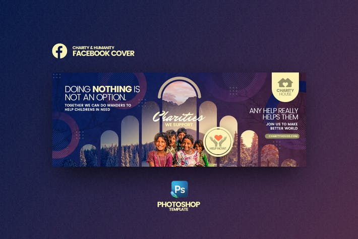 Thumbnail for Charity House Facebook Cover Template
