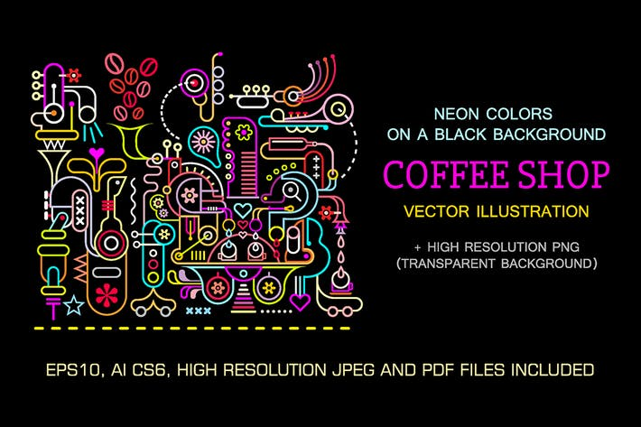 Cover Image For Coffee Shop Neon Colors Vector Illustration