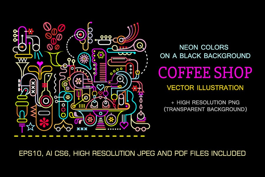 Coffee Shop Neon Colors Vector Illustration