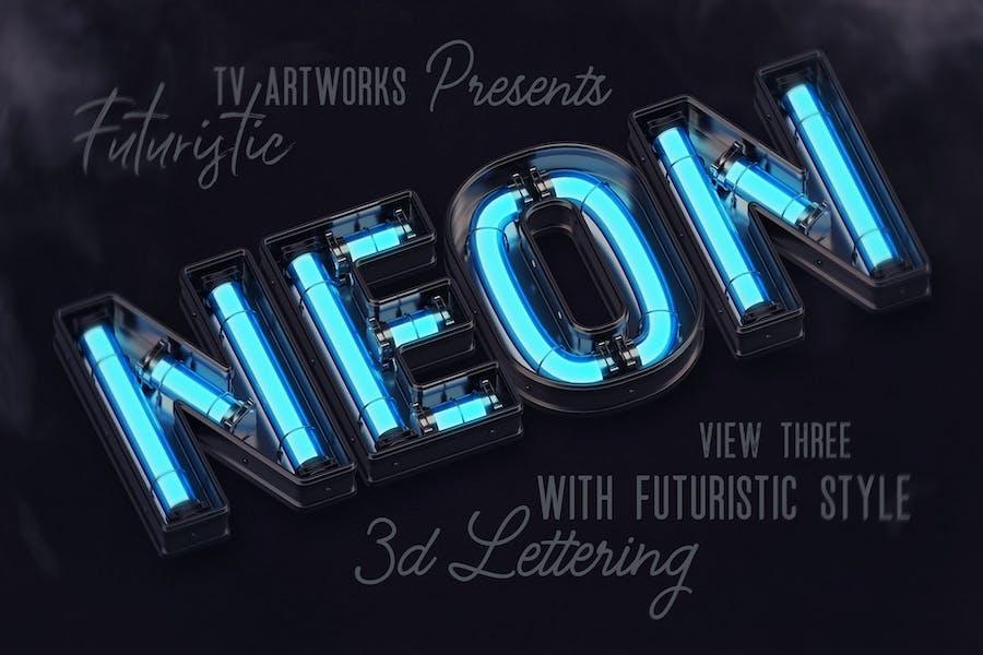 Futuristic Neon 3D Lettering View 4