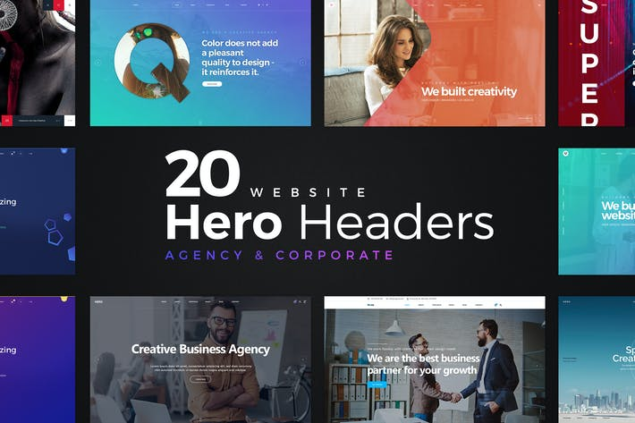 Thumbnail for 20 Website Hero Headers