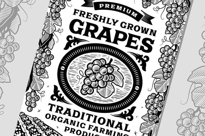 Thumbnail for Retro Grapes Poster Black and White