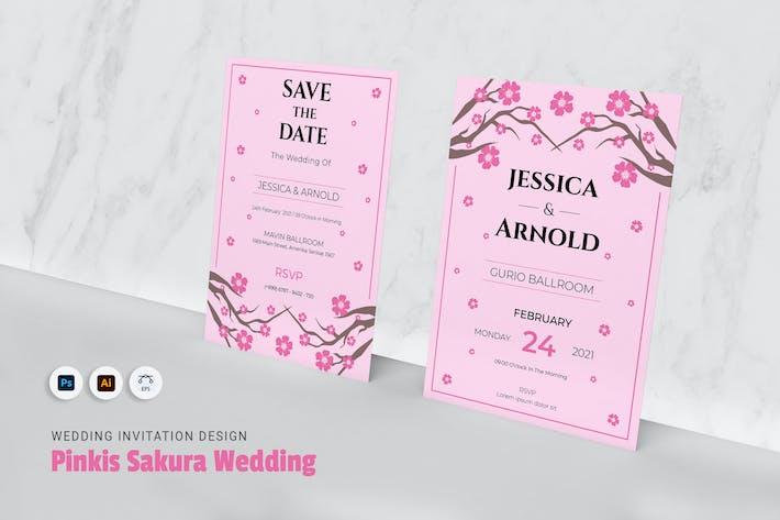 Thumbnail for Pinkis Sakura Wedding Invitation